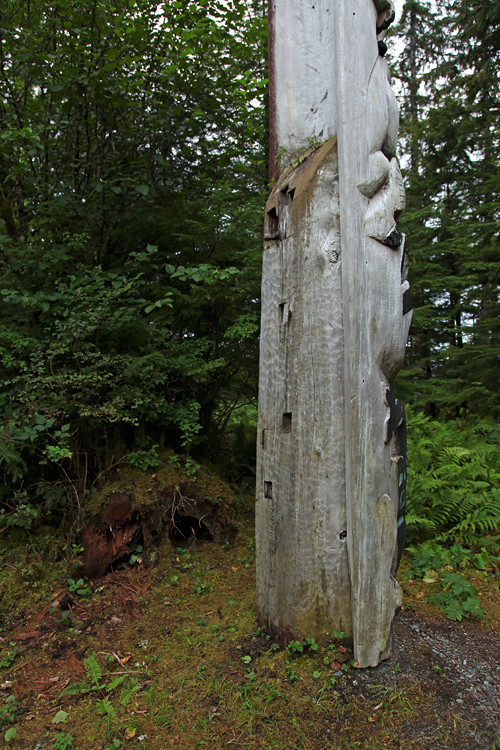 back of totem in Totems Historic District, Kasaan, Alaska