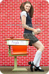 35/52 (amarvel) Tags: school portrait selfportrait brick apple wall uniform desk books backtoschool stylized schoolgirloutfit