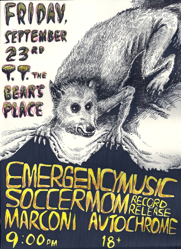 Soccermom Record Release Show With Emergency Music, Marconi and Autochrome