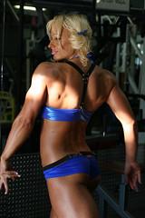 Blue Latex / Spandex (RickDrew) Tags: blue hot ass panties back model tits underwear l