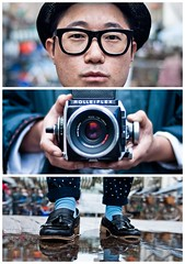 Triptychs of Strangers #20, The Analog Lover - London (adde adesokan) Tags: street camera travel portrait england man color reflection london hat rain analog rolleiflex pen puddle photography glasses shoes triptych photographer
