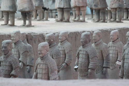 Individualized facial characteristics and positions of the terra-cotta warriors at Museum of Qin Terra-cotta Warriors and Horses, Xi'an, China