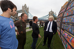 Mayor of London Boris Johnson talks to the creators of  Reclaimed by the Thames' an installation created for the Mayor's Thames Festival. (Baynes Media) Tags: wood uk england london art shipwreck installation thamesfestival pottersfields borisjohnson reclaimedbythethames