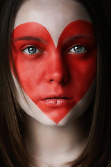 Red (Lou Bert) Tags: red portrait art girl face make up self paint heart makeup queenofhearts