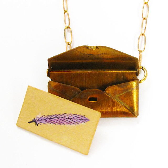 Loved Letter Envelope Locket With Violet Feather Drawing2