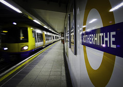 Overground- Rotherhithe (Sven Loach) Tags: new motion blur colors station sign modern train canon lights moving colours tube platform clean publictransport rotherhithe overground eastlondon g12 yellowstripe