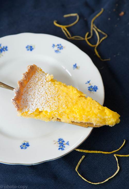 lemony rice tart piece