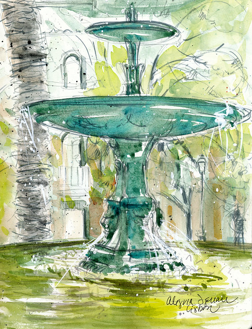 Lisbon, fountain at Alegria Square