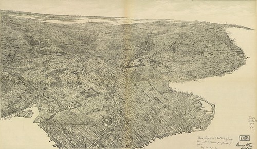 Bird's-eye-view of the borough of Brooklyn showing parks, cemeteries, principal buildings, suburbs. (signed Geo Welch)