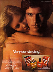 "vintage old spice ad with the tag line ""very convincing"""