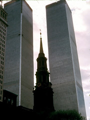 St. Paul's Chapel and the World Trade Center, 1973 (Bill in DC) Tags: nyc newyorkcity film worldtradecenter churches slides 1973 stpaulschapel ektachrome64