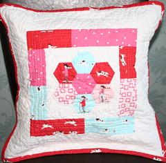 Sherbet Pips Cushion (madebymum) Tags: pink blue red by hand made mum pips quilted hexagons sherbet applique