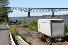 River, Road, and Rail (joseph a) Tags: newyork train ups highland hudsonriver piggyback csx poughkeepsierailroadbridge poughkeepsiebridge walkwayoverthehudson csxriverline piggybackcar
