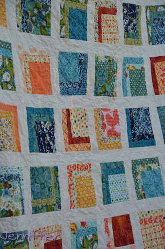 Orange and Blue Quilt Finished Close up