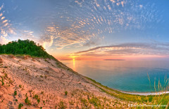 Pyramid Point ... panoramic sunset (Ken Scott) Tags: sunset panorama usa michigan lakemichigan greatlakes hdr freshwater voted sleepingbeardune leelanau pyramidpoint manitouislands sbdnl sleepingbeardunenationallakeshore mostbeautifulplaceinamerica kenscottphotography kenscottphotographycom