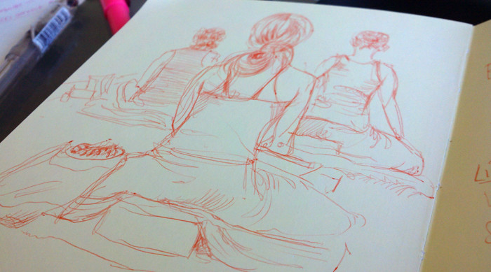 sketchbook drawing of yogis sitting in yoga teacher training