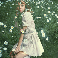 (yyellowbird) Tags: flowers girl field grass garden square earth overlay lolita cari daisymonster