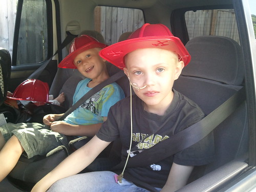 September 10, 2011 I backed up the boat trailer against the house and hit the gas pipe.. fire department was very impressed that we had an underground automatic shut off system so no gas was leaking out.. kids got their fire hats. lucas was eating his.