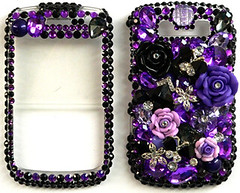 purple & black flowers bling