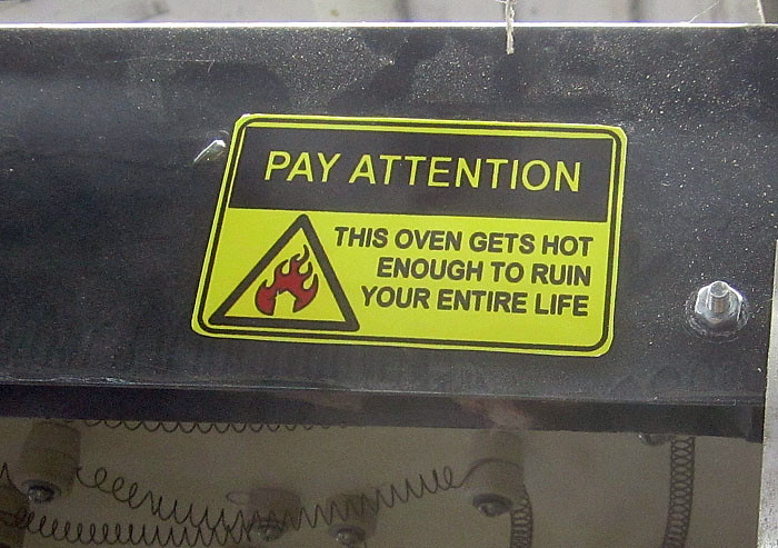 Vacforming Oven Warning Labels 2