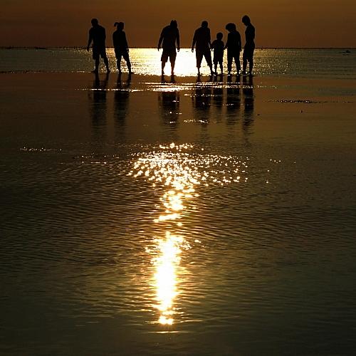family silhouette beside beach