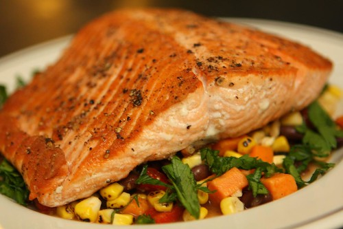 Pan Roasted Alaskan King Salmon with Grilled Corn and Sweet Potato Salad
