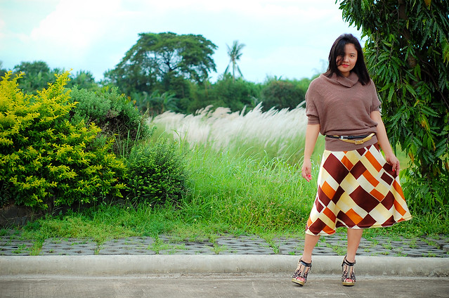 brown patterned skirt, knit top, embroidered mesh heels