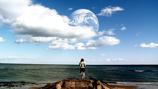 Brit Marling ponders a mirror world in 'Another Earth'.