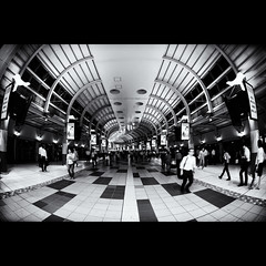 shinagawa station (tk21hx) Tags: blackandwhite bw station japan night tokyo fisheye shinagawa shinagawastation sigma15mmf28exdgdiagonalfisheye canoneos5dmarkii silverefexpro