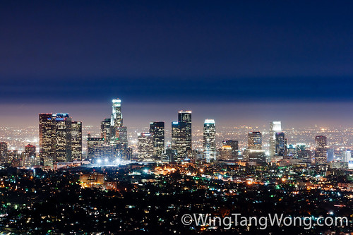 Long exposure shot of Los Angeles and its downtown towers by wingtangwong