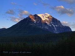 Evening Light On Mount Temple (johnfuj) Tags: mountain canada mountains nature ecology scenery mount alberta land environment lakelouise environmentalism ecosystem banffnationalpark morainelake mttemplecanadaalbertabanffnationalparklakelouisemorainelakeenvironmentecologyecosystemenvironmentalismscenerynaturelandmountainmountmountainsmttemple