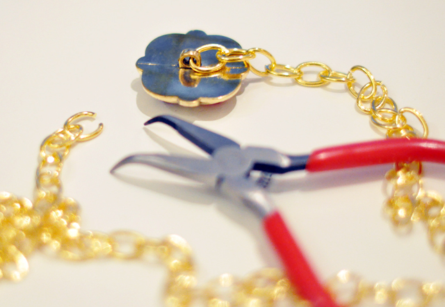 Gilded Gemstone and chain tassel necklace DIY-1