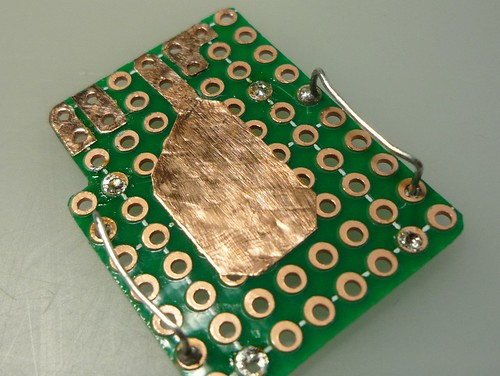 fake pcb out of perfboard and copper tape