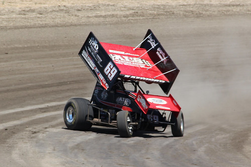 Tomas Scheckter stepping out the rear end on Bud Kaeding's World of Outlaws Sprint Car