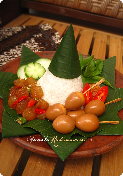 Homey and Humble Tumpeng Mini with Saté Telur Puyuh (Quail Egg Saté/Satay)