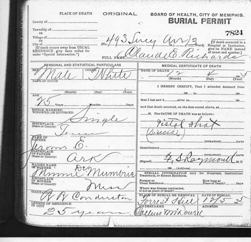 Claud E Richards Burial Permit
