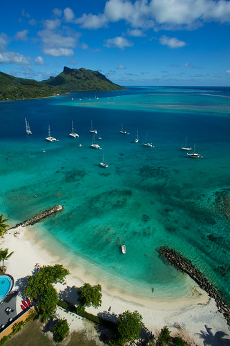 Fare, Huahine, seen from a kite line by Pierre Lesage