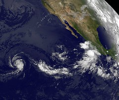 "GOES-11 Satellite Sees Tropical Storms Fernanda and ""Little Brother"" Greg Chasing Each Other (NASA Goddard Photo and Video) Tags: weather hurricane nasa tropicalstorm goddardspaceflightcenter hurricaneseason2011 tropicalstormfernanda"
