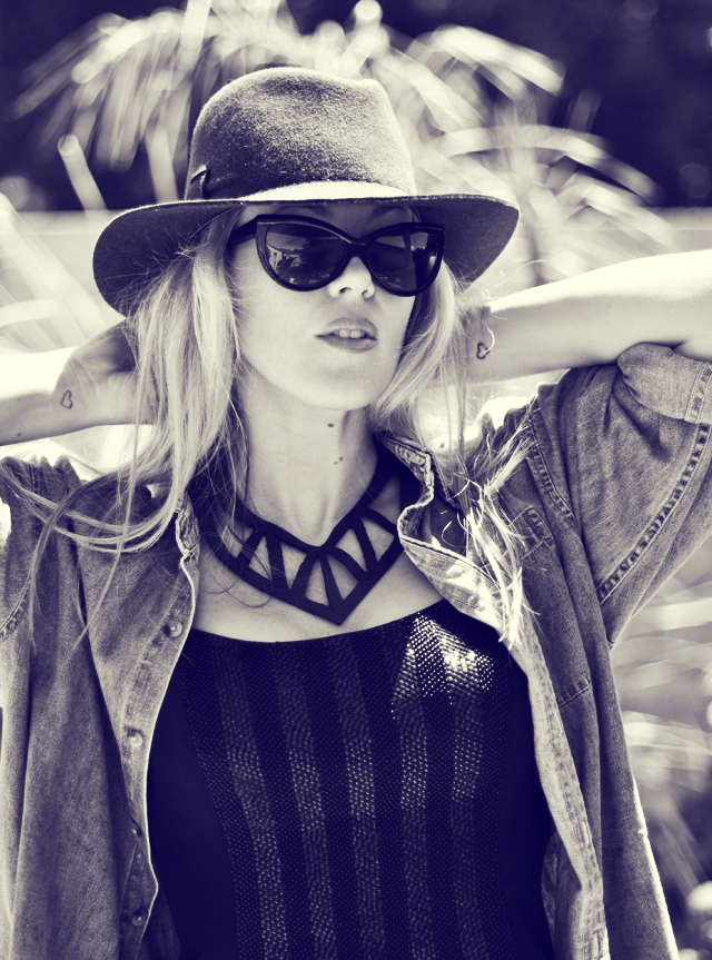 leather statement necklace - sunglasses-hat