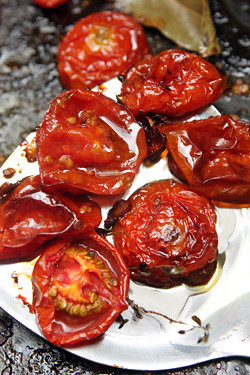 roasted tomatoes for tomato basil pizza