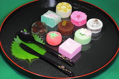 Japanese confectionery ( Spice (^_^)) Tags: pink food brown white black green cake colorful candy sweet fork spoon   confectionery     japaneseconfectionery  asiansweets