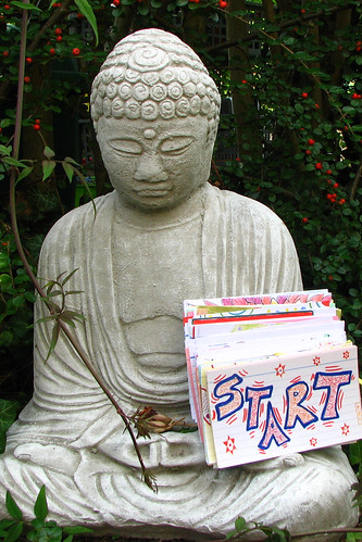 Buddha looks after the index cards