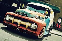 F1 Panel Rat (Garret Voight) Tags: show old classic ford car minnesota vintage fairgrounds rat rust whitewalls automobile panel bokeh f1 retro chrome american rod modified van custom multicolored saintpaul lowered backtothe50s