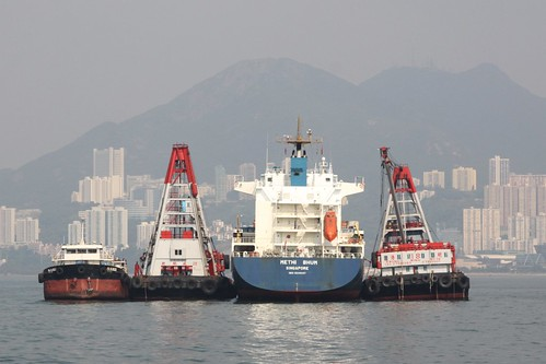 Mid-stream cargo unloading of container ship 'Methi Bhum' in Hong Kong