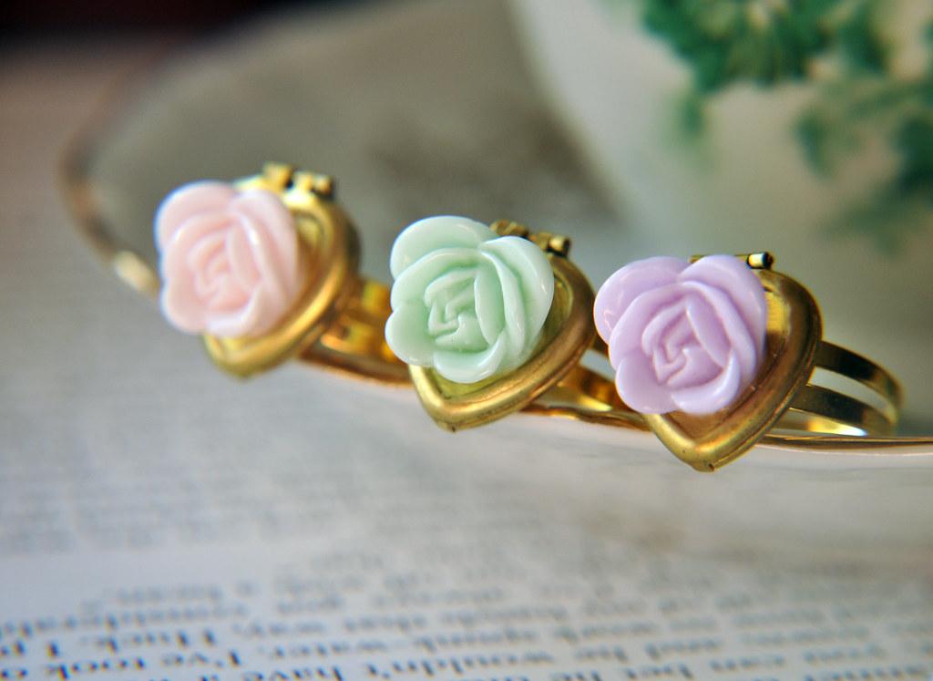 Adjustable Rose Flower Vintage Heart Locket Ring