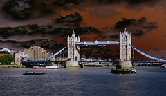Angry Dark Clouds (Kombizz) Tags: uk london thames clouds towerbridge river dark symbol angry iconic riverthames suspensionbridge iconicsymbol kombizz angrydarkclouds