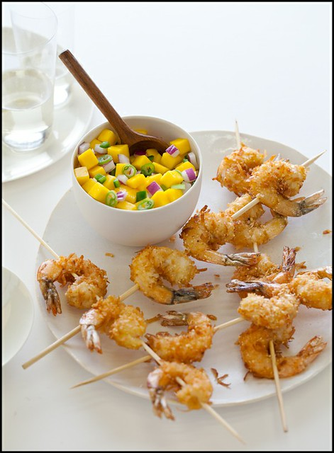 4 Spoonforkbacon-Coconut Crusted Shrimp Skewers Kebabs Mango Salsa Idea