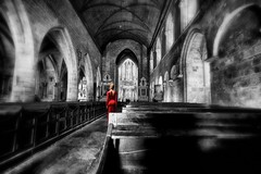 Lady in red 2 (renschmensch) Tags: red art church kirche dinan flickrrocks lglise contemporaryartsociety ourdream