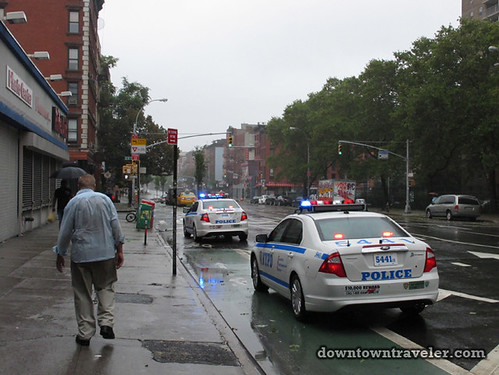 Aftermath of Hurricane Irene in NYC_Police cars
