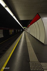 Underground perspective (Andrea Rapisarda) Tags: vienna red urban abstract black colors lines yellow underground austria vanishingpoint nikon niceshot metro perspective giallo ubahn rosso nero geometrie linee sigma1020mm puntodifuga d7000 andrearapisarda mygearandme